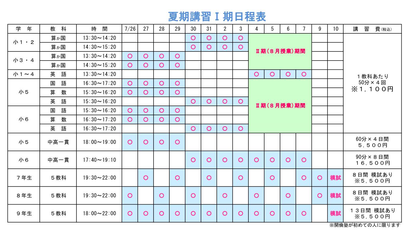 谷田部校の夏期講習1期日程表(詳細はTEL:029-886-8504)